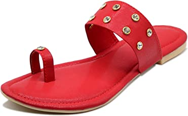 Midsole Women's Embellished Pearl Toe Ring Casual Fashion Sandals/Slippers/Flats - (FT5008C)