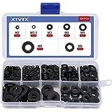 XTVTX 500 STKS Zwart Nylon Plated Flat Spacer Washer Assortiment Kit Metrische Pakking Ring M2, M2.5, M3, M4, M5, M6, M8