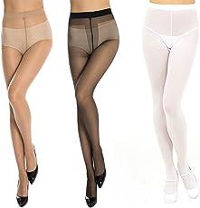 Neska Moda Women's Net Panty Hose Long Comfort Stockings (STK4andSTK5andSTK6, Black, White and Skin , Free Size) - Pack of 6