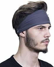 French Fitness Revolution Sporty Touch 4 Wide Men's Sweatband Best for Sports Running Workout (Charcoal Grey)