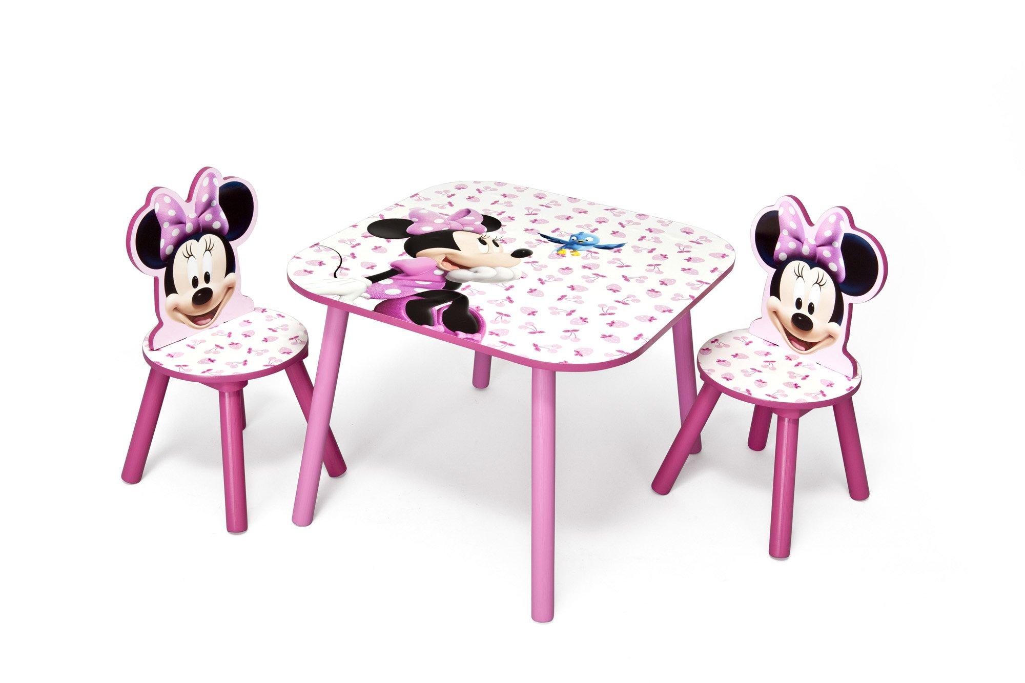 Tavolino Disney Legno.Disney Set Tavolo Con 2 Sedie Per Bambini Minnie Mouse