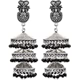 Saissa Silver Plated Oxidised Metal 3 Layer Traditional Jhumka Earrings for Girls and Women, Black