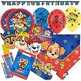 Amscan/Hobbyfun 72-teiliges Party-Set Paw Patrol - Teller Becher Servietten Trinkhalme Einladungen Tüten Girlande Masken Luftballons für 8 Kinder