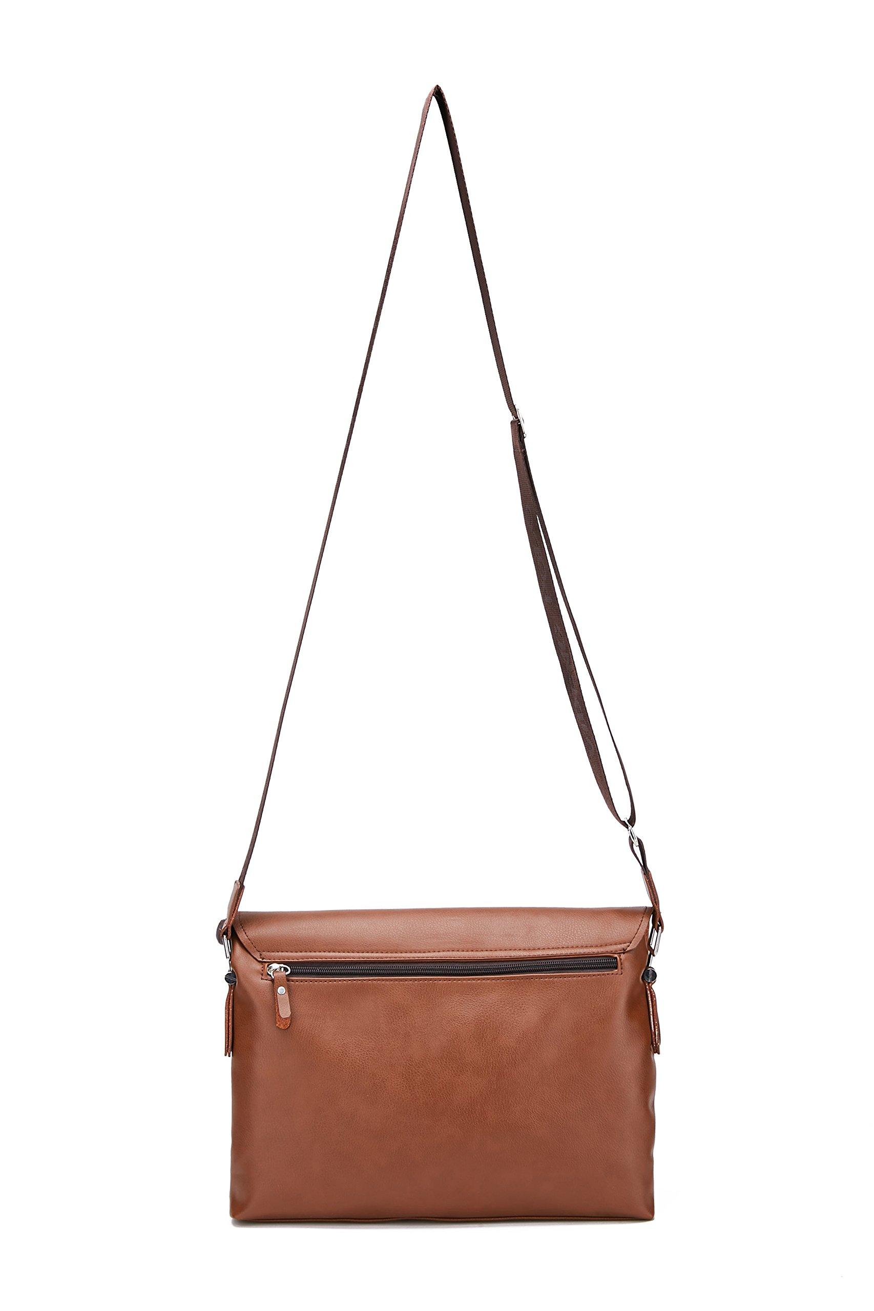 71L4domHmbL - Maod Cuero Suave Bolso Mensajero del Bandoleras Hombre Vintage maletin portatil Color Sólido Bolso Negocio Maletín…