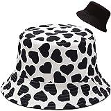 Malaxlx Cappello da Pescatore Donna Uomo Cappello da Sole Reversibile Pieghevole Cappello da Pesca Cotone Viaggio Spiaggia Es