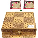Trendifly Wooden Velvet Bangle Box Bangle Organizer Box Jewellery Storage Box Square 4 Rod Gold with 2 saree cover free(Gold)