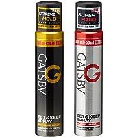 Gatsby Set and Keep Extreme Hold Hair Spray, 250ml with Super Hard Hair Spray, 250ml