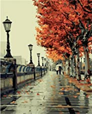 digital oil painting Wooden painting Holdfound Diy Oil Painting/Paint By Number Kit-Romantic Love Autumn (16X20-inch)
