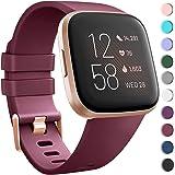 SAPU Compatible with Fitbit Versa 2/Versa/Versa Lite, Soft Silicon Sport Bands Wristbands Accessories for Women Men Red Wine
