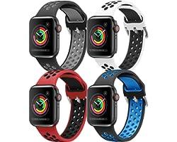 HLTEK Correa Compatible para Apple Watch 44mm 42mm 40mm 38mm, Suave Silicona Pulseras de Repuesto para iWatch Series 6/5/4/3/