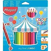 Maped Color'Peps Crayons de Couleur Maxi pour Enfants, Premiers Crayons de Coloriage pour Bébé +2 ans – Boîte de 18…