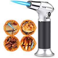 RenFox Blow Torch, Professional Kitchen Cooking Torch with Safety Lock, Adjustable Flame Refillable Mini Blow Torch Lighter, for DIY Crafts Cooking BBQ Baking Brulee Creme Soldering