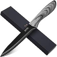 EUNA Couteau à pain dentelé de 5 pouces Couteau utilitaire ultra-tranchant pour trancher et éplucher la cuisine…
