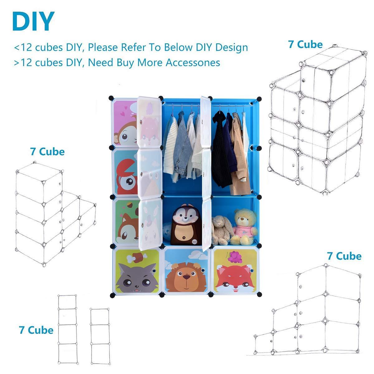 BRIAN & DANY Erweiterbares Kinderregal Kinder Kleiderschrank Stufenregal Bücherregal mit Türen & 2 Aufhängern, tiefere Fächer als normal (45 cm vs. 35 cm), 110 x 47 x 147 cm Blau 4