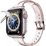 LORDSON Correa y Funda Compatible con Apple Watch Series SE / 6/5/4 Band 40 mm + Estuche, Brillante Correa de Repuesto de Sil