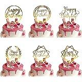 Lot de 6 Happy Birthday Cake Topper, Or Décorations de Gâteau d'anniversaire pour Enfants et Adultes, Acrylique Cupcake Toppe