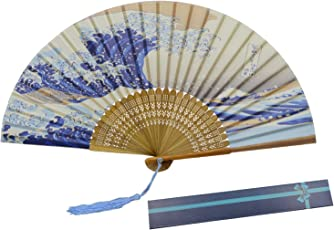 KAKOO Japanischer Handfächer mit Geschenkbox Schmetterling und Blütenkirsche Stofffächer Fächer Wandfächer Hochzeit Party Karneval Blau