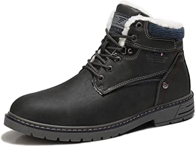 ARRIGO BELLO Mens Boots Leather Non-Slip Casual Ankle Boots Classic Hiking Comfy Warm Winter Chukka Outdoor Snow Boots Men Shoes
