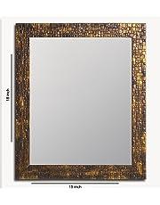 Art Street Lavaliere Fiber Wood Wall Mirror (15x19 inch, Antique Gold)