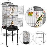 Yaheetech Cage Oiseaux Portable Poignée Volière avec Toit Équipé 3 Perchoir en Bois 4 Mangeoires 3 Jouets et 1 Swing 46 x 36