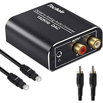 DA Wandler Techole Aluminium 192KHz DAC Digital SPDIF Toslink zu Analog Stereo Audio Konverter mit Optischem Kabel, R/L 3.5mm Jack, Netzteil 5V/DC, Audio Converter für PS3, PS4, Xbox, HD TV, Apple TV