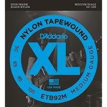 D'Addario Cordes pour basse avec revêtement nylon D'Addario Tapewound ETB92M Medium 50-105 cordes moyennes