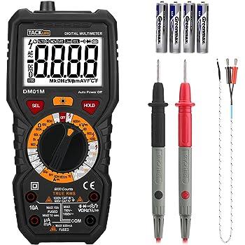 Tacklife DM01M Multimetro Digitale Avanzato TRMS 6000 Conti Senza Contatto di Tensione, Rileva Amp Ohm Volt e Temperature, Filo Vivo, Test di Continuit¨¤ con Display Retroilluminato