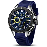 MEGIR Men's Sports Analogue Army Military Chronograph Luminous Quartz Watch with Stylish Silicone Strap for Gifts
