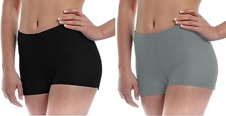 The Blazze Women's Seamless Spandex Boyshort Underskirt Pant Short Leggings Pack of 2 (S, Black+Grey)