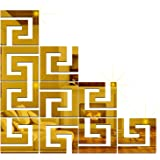 Wall1ders - 10 Wall Geometric Golden 3D Acrylic Stickers, 3D Acrylic Mirror Wall Stickers for Living Room, Hall, Bed…