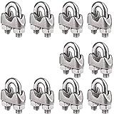 JUN-H 10 Piezas de Abrazadera de Cuerda de Alambre M4 de Acero Inoxidable 304 para Tensar el Cable para Actividades Industria