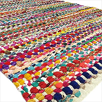 EYES OF INDIA - 3 X 5 ft MULTICOLOR COLORFUL CHINDI WOVEN RAG RUG Boho Indian Bohemian Decor - inexpensive UK light shop.