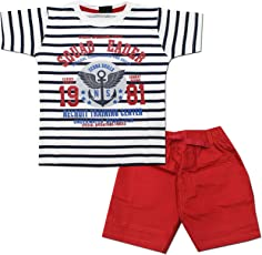 Kid's Care Baby Boy Baby Girl Printed Cotton T-Shirt and Half Pant Set for Kids(EX-007)