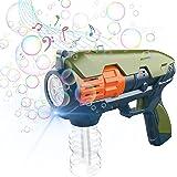 CAMFUN Máquina de Burbujas para Niños,Pistola Pompas Jabón,Mecanismo de Soplado Música y Luz para niños o Mascotas,Pistola de