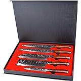 YARENH 5 Pièces Set Couteaux Cuisine Professionnel,Couteaux en Acier Japonais Damas Acier,Set Couteau Damas Japonais Contient