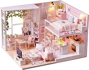 Spilay DIY Miniatur Puppenhaus Holzmöbel Kit,Handgemachte Mini Moderne Wohnung Modell mit Staubschutz & Spieluhr,Dollhouse Kreative Puppenhaus Spielzeug für Kinder Geschenk