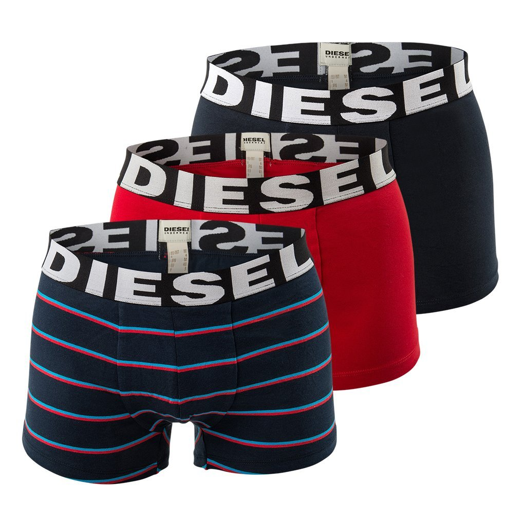 Diesel Umbx-Shawnthreepack 3pac, Boxer Uomo, Mehrfarbig (Blue/Red/Striped 02), XL