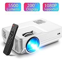 Vidéoprojecteur, Amyneo Mini Projecteur Portable 5500 Lumens Résolution Native 1280*720p, Retroprojecteur avec Haut-parleurs Stéréo HiFi, Supporte HDMI / USB / VGA / AV