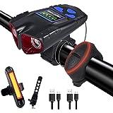 Tihokile Luz de Bicicleta, Luz de Bicicleta con Pantalla LED de Carga USB, Luz de Seguridad Impermeable IPX6 de 2000 mAh 500