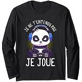 Panda T-shirts de gaming homme garçon gamer cadeaux homme Manche Longue