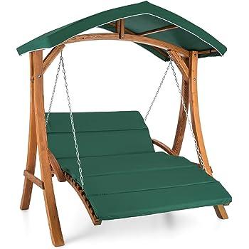 blumfeldt Aruba • Hollywoodschaukel • Hängesessel • Gartenschaukel • max. 240 kg • Lärchenholz • Weichholz • witterungsbeständig • Sonnendach • Edelstahl-Ketten • 4 cm Polyester Sitz-Kissen • grün