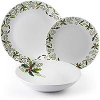 Excelsa Christmas Holly Service de table 18 pièces en porcelaine