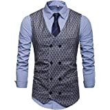 MU2M Men Casual Business Double Breasted Printed Slim Fit Suit Vests Waistcoat