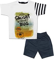 Kid's Care Baby Boy Baby Girl Printed Cotton T-Shirt and Half Pant Set for Kids(EX-015)