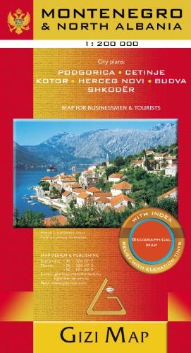 Montenegro & North Albania 1 : 200 000: City plans: Podgorica, Cetinje, Kotor, Herceg Novi, Budva, Shkoder