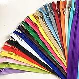 WKXFJJWZC 50 cremalleras de nailon mezcladas de 40 cm (16 pulgadas) para costura, artesanía, artesanía, FGDQRS