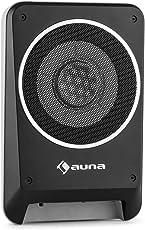 """auna Blackseat 8 • Auto-Subwoofer • aktiver Subwoofer • Unterbau-Subwoofer • 200 Watt max. Leistung • 20 cm (8"""")-Tieftöner • integrierter Class A/B-Verstärker • extrem flache Bauweise • Vollmetallgehäuse • Kabel-Fernbedienung • resonanzarm • schwarz"""