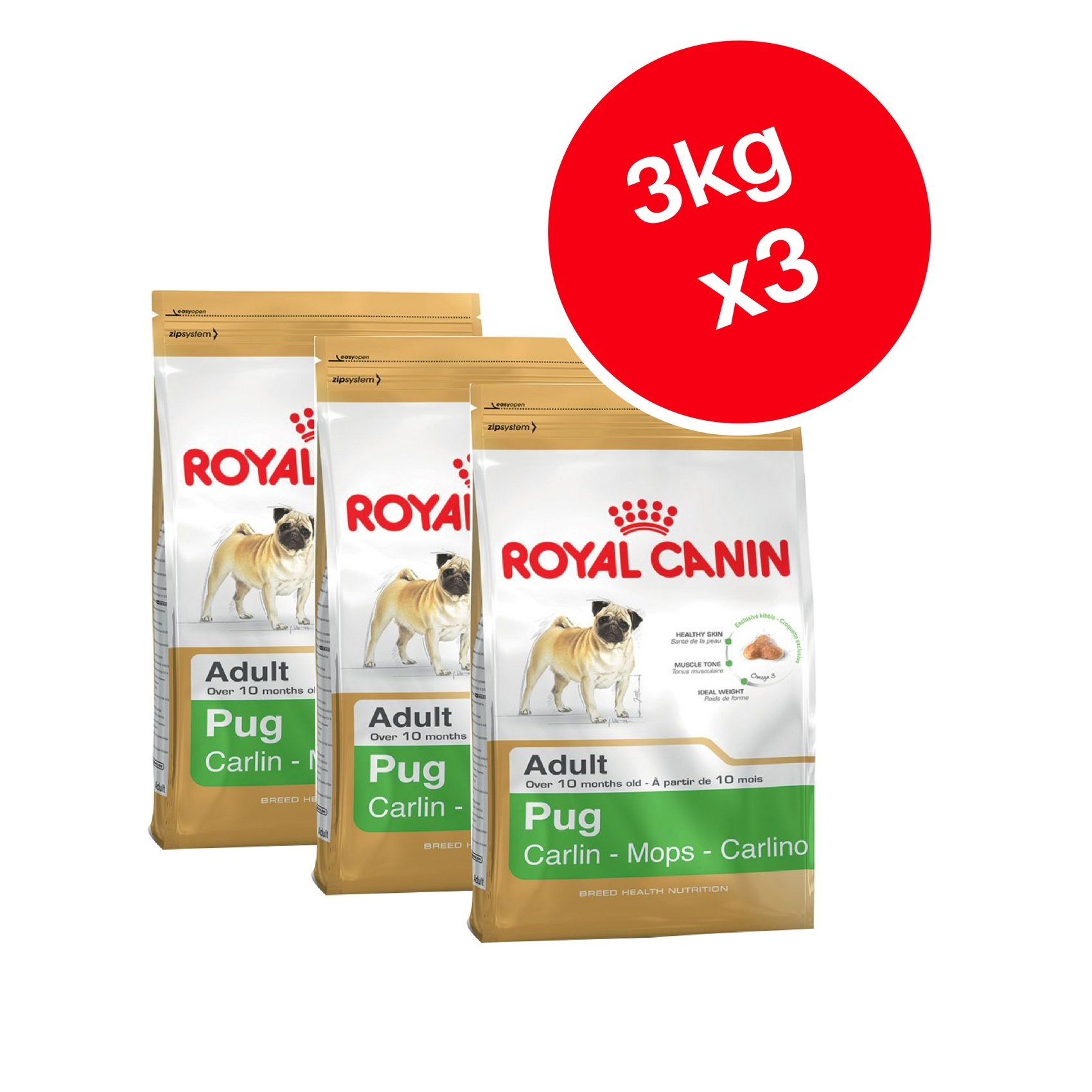 Royal Canin Pug Adult Dry Dog Food 3kg (Pack of 3)