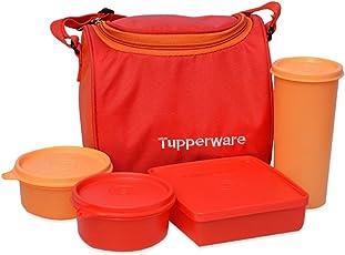 Tupperware Best Lunch Set with Bag, 4-Pieces, Orange
