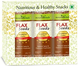 NourishVitals Roasted Flax Seeds (Superior Quality) - 200 gm - Pack Of 3